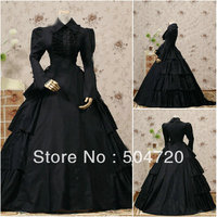 Custom madeV 1143 Black Cotton Classic Gothic Lolita dress/victorian dress Civil War Halloween dress US6 26 xs 6xl V 808