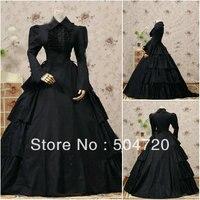 Custom madeV 1143 Black Cotton Classic Gothic Lolita dress/victorian dress Civil War Halloween dress US6 26 xs 6xl V 808