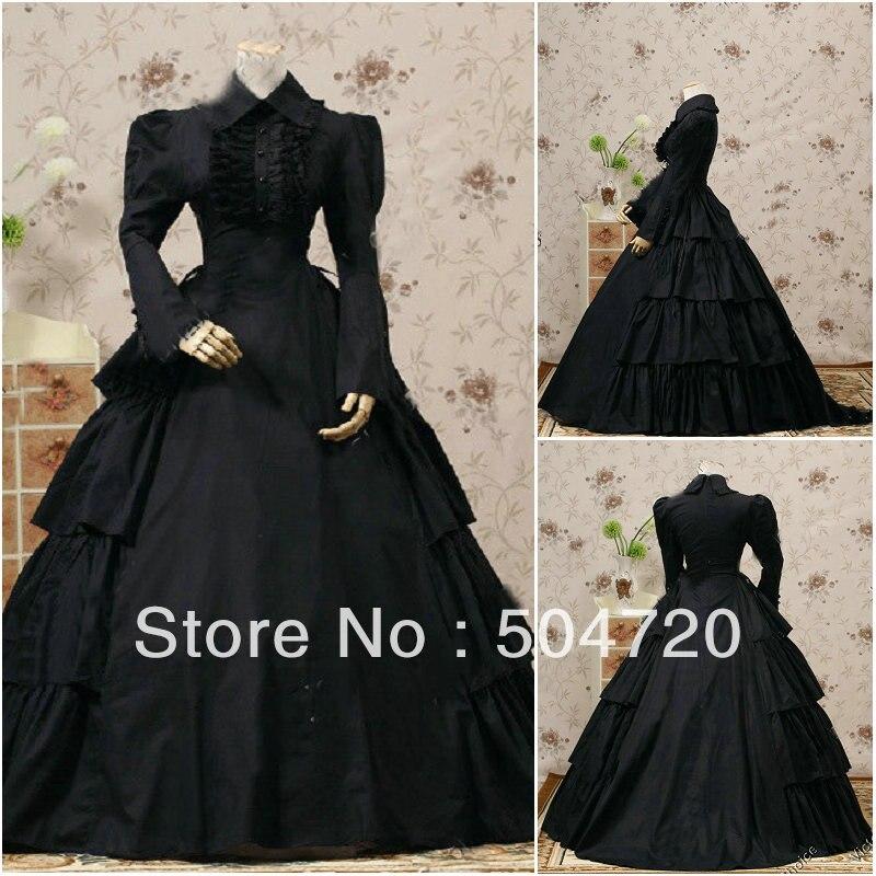 Custom-madeV-1143 Noir Coton Classique Gothique Lolita robe/robe victorienne Guerre Civile Halloween robe US6-26 xs-6xl V-808