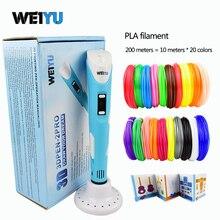 Dewang 3D Ручка + 20 цвет * 10 м ABS нити (200 м), 3 D Ручка 3D модели, 3D Рисунок пером печать Ручка, Best подарок для детей творческих, pen-3d