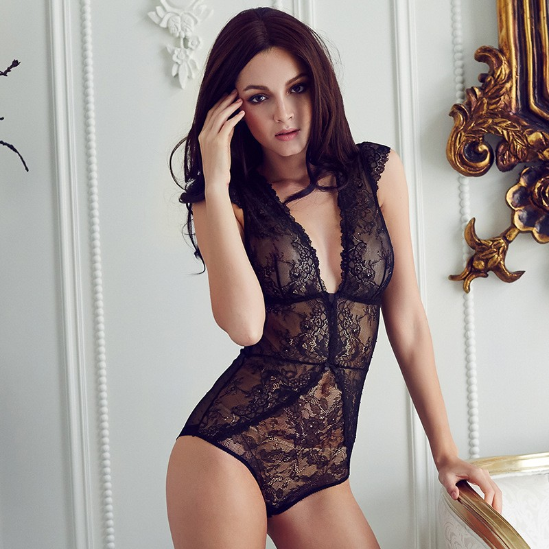 Lace-Women-Elastic-Slim-Long-Sleeve-Jumpsuit-Sexy-Lace-Bodysuits-Chiffon-Soild-Bodysuits-V-Vest-Black