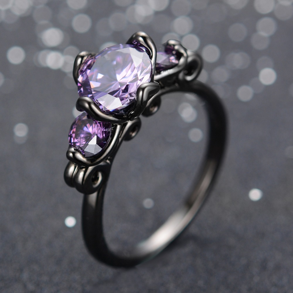 black item engagement bands in eternity jewelry purple wedding gift genuine stone rings charm woman anniversary gold filled ring christmas from
