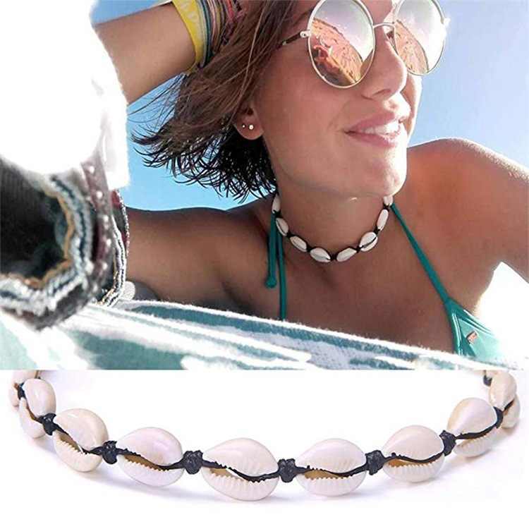 Chereda קסם מעטפת שחור חום חבל שרשרת שרשרת לנשים בציר בעבודת יד קולר עצם הבריח חוף קיץ ילדה תכשיטי מתנה
