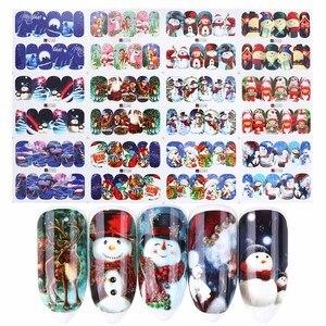 Image 3 - Autocollants pour ongles de noël eau, 12 pièces, décalcomanies, bonhomme de neige, père noël, cerf, accessoire de manucure, nouvel an, coulissant, JIA/BN