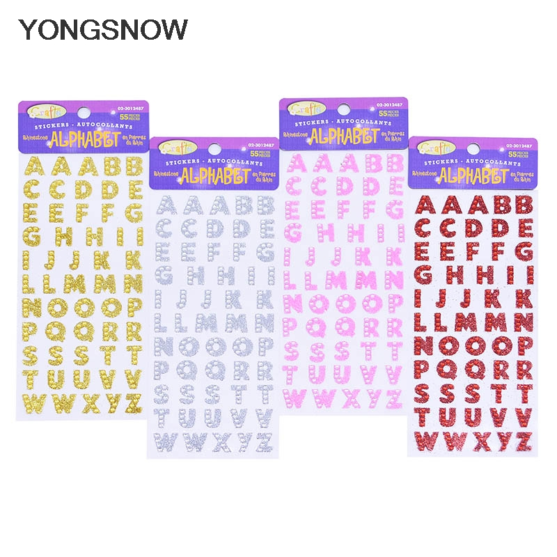 26pcs/sheet English Letters Rhinestone Self Adhesive Alphabet Stickers for Clothes Wedding Patch DIY Craft Scrapbooking Stickers