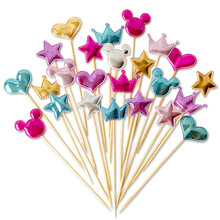 5pcs lovely heart star crown cake topper for birthday cupcake flag baby shower party wedding decoration supplies mickey mous