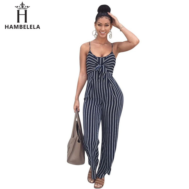 5ad4f21dad0a HAMBELELA Women Wide Leg Jumpsuits Rompers Cut Out Striped Bow Tie Ladies  Jumpsuit Office Ladies Casual Wear Printed Overalls