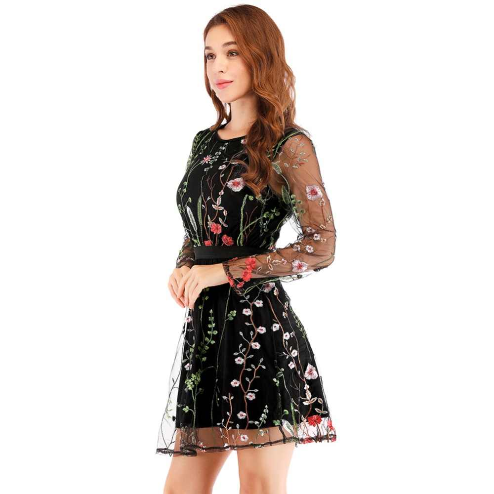 d3a611a79160f ... Floral Embroidery Women Summer Dress 2019 Boho Holiday Long Sleeve  Sheer Mesh See Through Sexy Casual ...