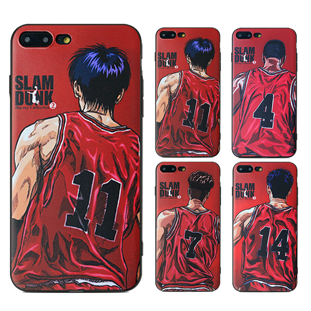 pretty nice 1e35b cf214 US $1.34 20% OFF|New Style Slam Dunk Series Phone Case For iPhone 6 6s 6  Plus 6s Plus 7 7 Plus Painted Black Frosted TPU Soft Silicone Cover-in  Fitted ...