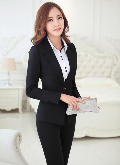Plus Tamaño 4XL Negro Elegante Formal Uniforme Mujeres Trajes de Negocios de Diseño Profesional Con Chaquetas Y Pantalones Set
