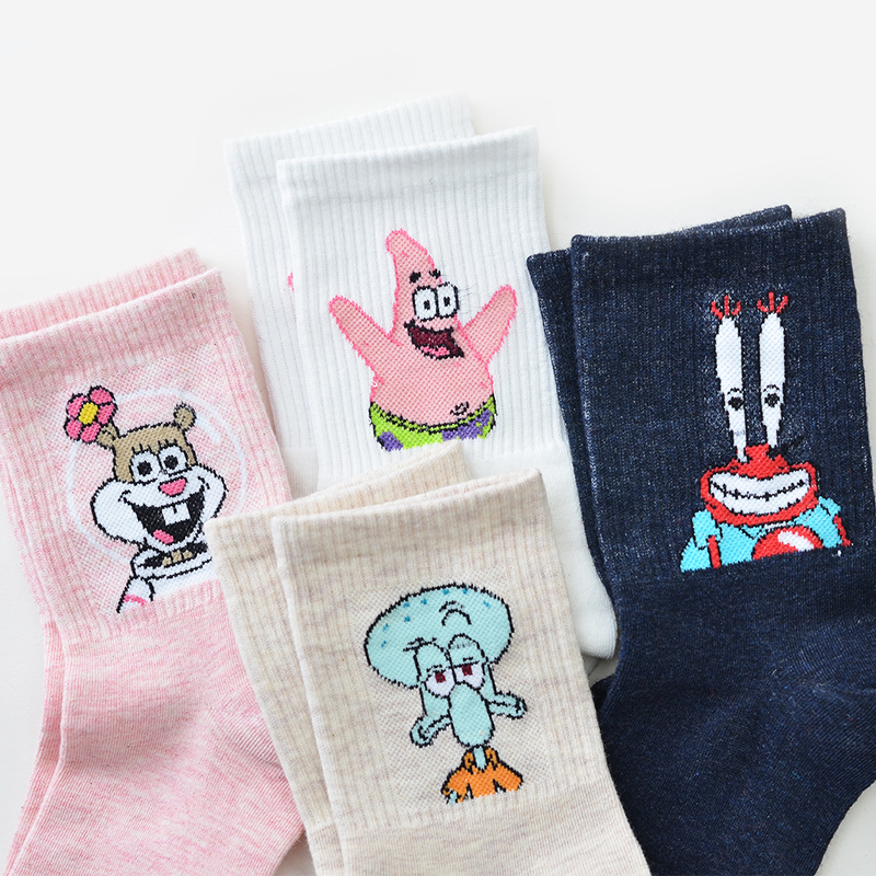 SP&CITY 4 Pairs Women Spring Short Cartoon   Socks   Cotton 3D Funny Colored Unisex Cool Student Style Hipster   Socks   Cheap Set Sox
