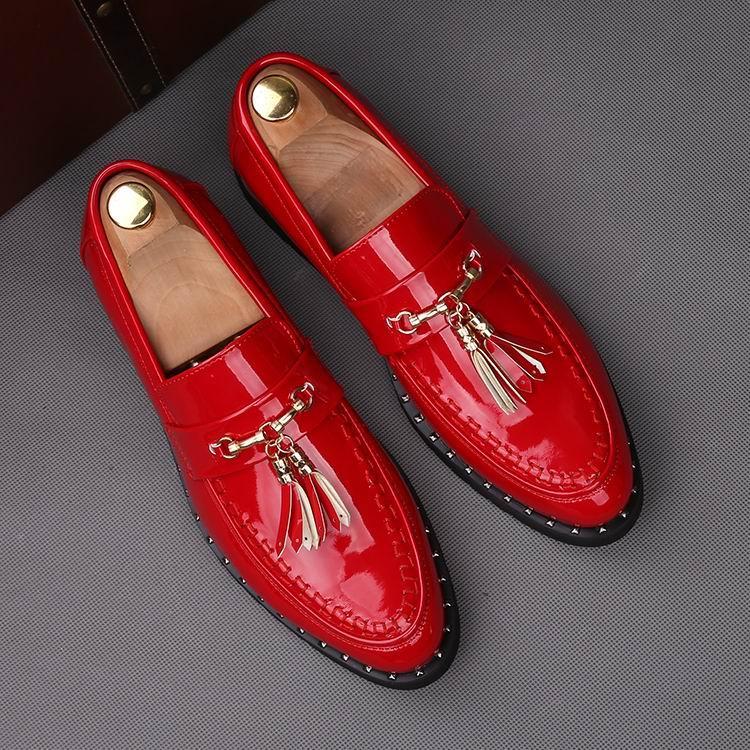 Tredning Lazer Borla Redondo ouro De Dedo Vermelho Pé vermelho Ouro Errfc Rebites Preto Dourado Homem Pu Do Preto Sapatos Vestido Moda Shinny Barco Homens Couro TqcBafvy