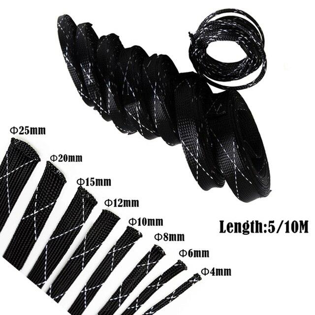 5M pleciony kabel rękaw ochronny 4-25mm mocno PET rozbudowy drut tulejowy Wrappe Organizer do kabli
