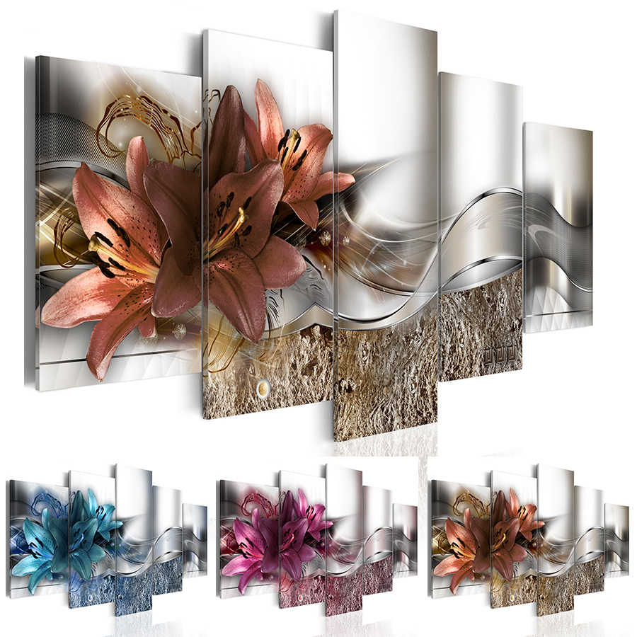 2019 Fashion Wall Art Canvas Painting 5 Pieces Abstract Lines of Magnolia Flowers Modern Home Decoration,Choose Size:3 No Frame