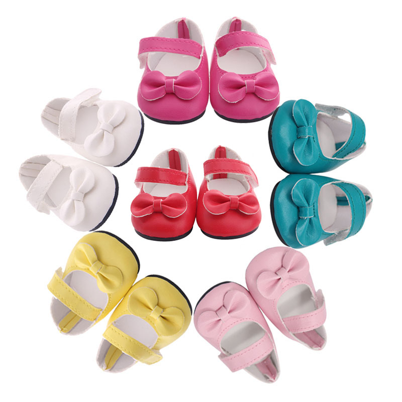 A New Style Of Bow-tied Leather Shoes, Canvas Shoes For The 18-inch American Doll