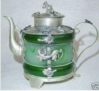 Design Silver Monkey CHINESE Excellent Jade Inlay Silver Animal Decorative Tea Pot Tools Wedding Decoration Brass