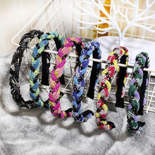 CN Hair Accessories Vintage Braided Headband for Women Ribbon Knotted Hairband Girl Hoop