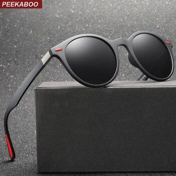 a33e71818 Peekaboo retro gafas de sol polarizadas hombres tr90 2019 redondo para  mujeres, gafas de sol