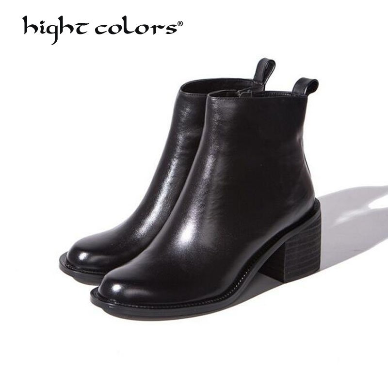hight colors Brand Women Genuine Leather Boots Female Round Toe Zip Woman Casual Shoes Autumn Winter Short Plush Ankle Boots DX5 women genuine leather spring autumn ankle boots short plush inside for winter short boots fashion round toe boots 6
