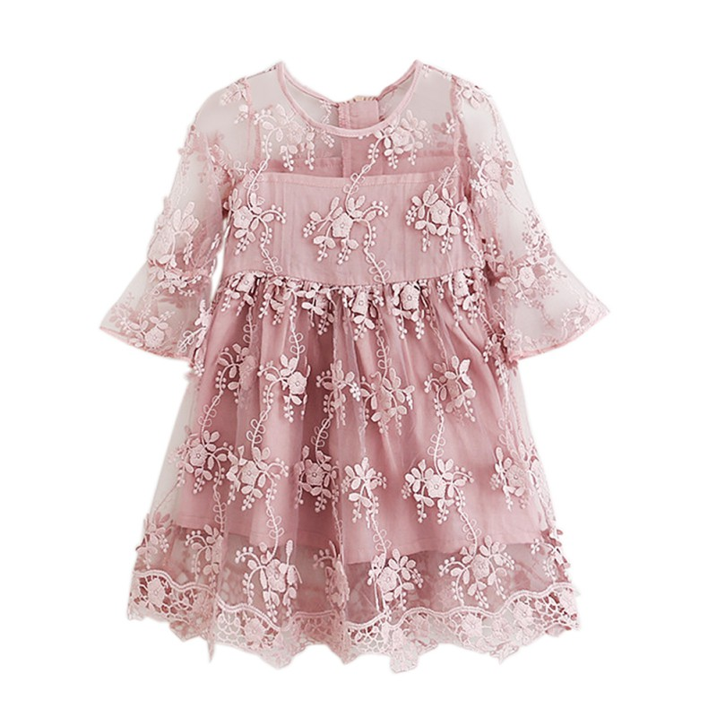Summer Girl Clothes Kids Dresses For Girls Lace Flower Dress Baby Girl Party And Wedding Party Princess Style Clothes 2 Colors girl dress 2 7y baby girl clothes summer cotton flower tutu princess kids dresses for girls vestido infantil kid clothes