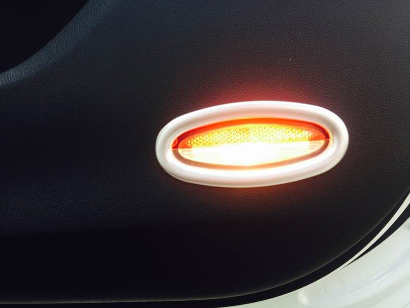 For Renault Koleos 2017 Second Generation ABS Matte Car Styling Front Door Interior Warning Signal Lamp Light Trim Warning Light