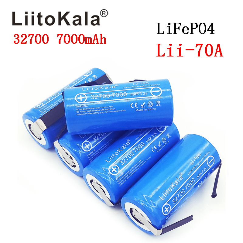 2019 LiitoKala 3.2V 32700 7000mAh Lii 70A LiFePO4 Battery 35A Continuous Discharge Maximum 55A High power battery+Nickel sheets-in Rechargeable Batteries from Consumer Electronics