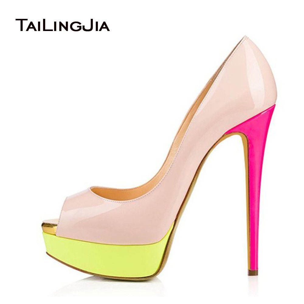 2017 Sweet Women Patchwork Patent Leather Skyhigh Party Shoes Colorful High Heel Evening Peep Toe Stiletto Platform Pumps