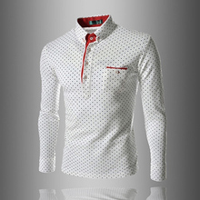 2016 Men England Trendy Wave Point Self-Cultivation Long Sleeved Tide Polo Shirt Top