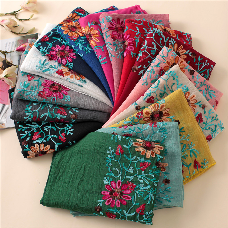 2019 Plain Embroider Floral Viscose Shawl Scarf From Indian Bandana Print Cotton Scarves And Wraps Soft Foulard Muslim Hijab Cap