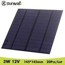 SUNWALK 20Pcs/Lot 12V 3W PET Polycrystalline Silicon Small Solar Panel DIY Solar Panel Cell for DIY Solar Module 145*145mm