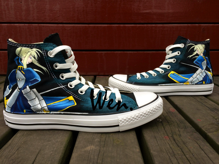 ФОТО Wen Anime Unisex Hand Painted Shoes Fate Stay Night Saber Men Women's High Top Casual Canvas Shoes Christmas and Birthday Gifts