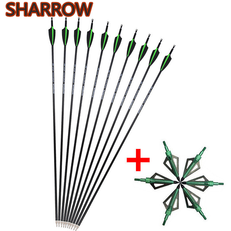 12Pcs 30 Archery Carbon Arrows SP 500 Replaceable Screw Arrow Points With Broadhead For Outdoor Hunting