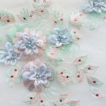10pieces light blue heavy bead lace applique 3D lace applique with rhinestones bridal applique 3d flower applique фото