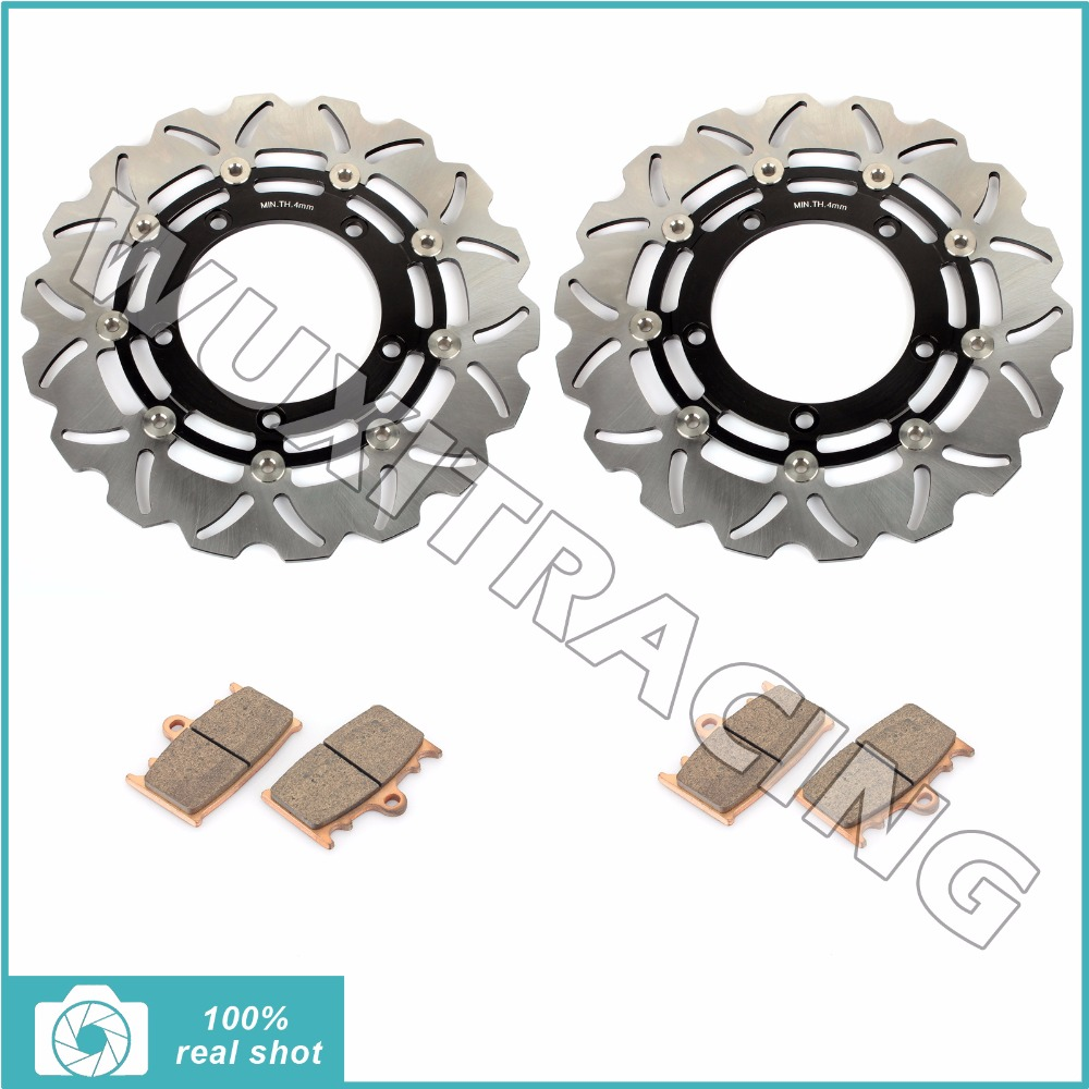 New Motorcycle Black / Gold Front Brake Discs Rotors + Brake Pads for SUZUKI GSR 600 GSR600 2006-2008 2007 06-08 aftermarket free shipping motorcycle parts eliminator tidy tail for 2006 2007 2008 fz6 fazer 2007 2008b lack