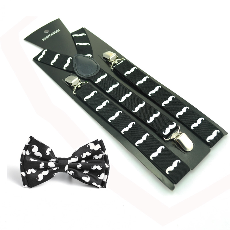 Free Shipping Clip-on Braces Elastic Suspender With Bow Tie Set Y-Shape 10