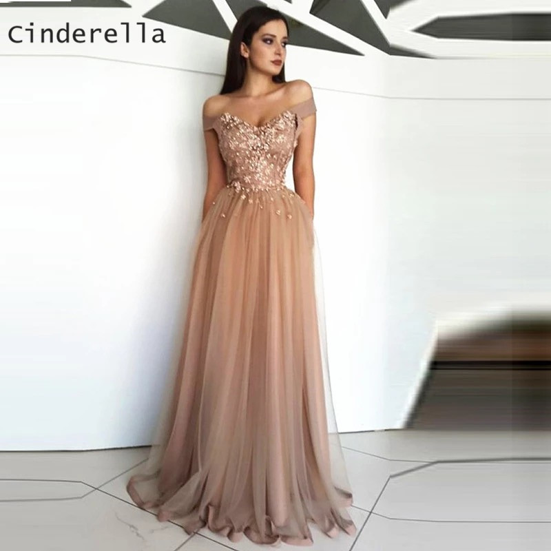 Cinderella V-Neck Off The Shoulder Lace Applique Crystal Pearl Beaded Soft Tulle   Prom     Dresses   Floor Length Party Gowns For   Prom
