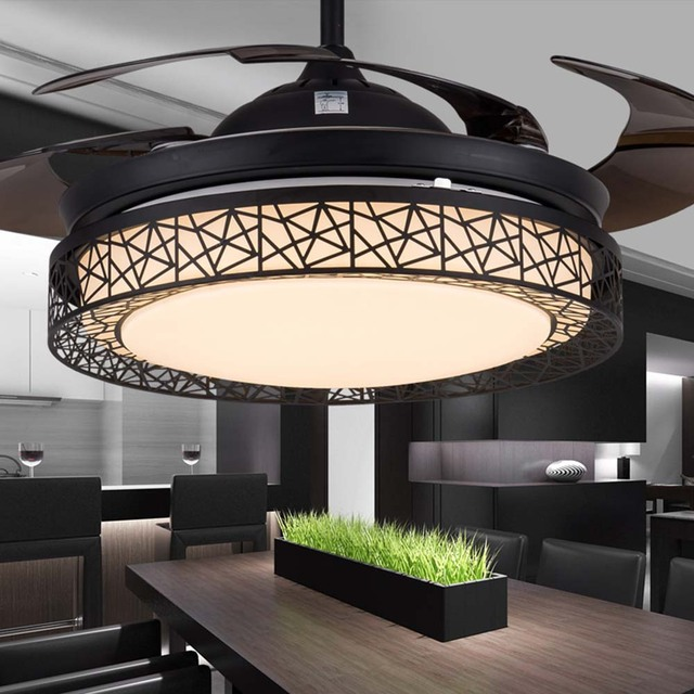 42in Modern Bird S Nest Black Folding Ceiling Fan Lights Fixtures Invisible Leaf Led Lamp