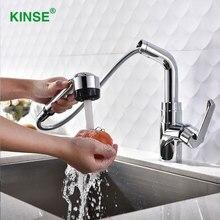 KINSE Moderno Brillante Chrome Pull Out Grifo de Un Solo Orificio de Latón Grifo de la Cocina con Rociador de Agua