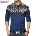 2017 Новая Коллекция Весна Мужская Мода Одежда Цветок Slim Fit Мужчины Длинные рукава Рубашки Мужчины Лен Высокое качество Повседневная Мужчины Рубашка Социальный 5XL