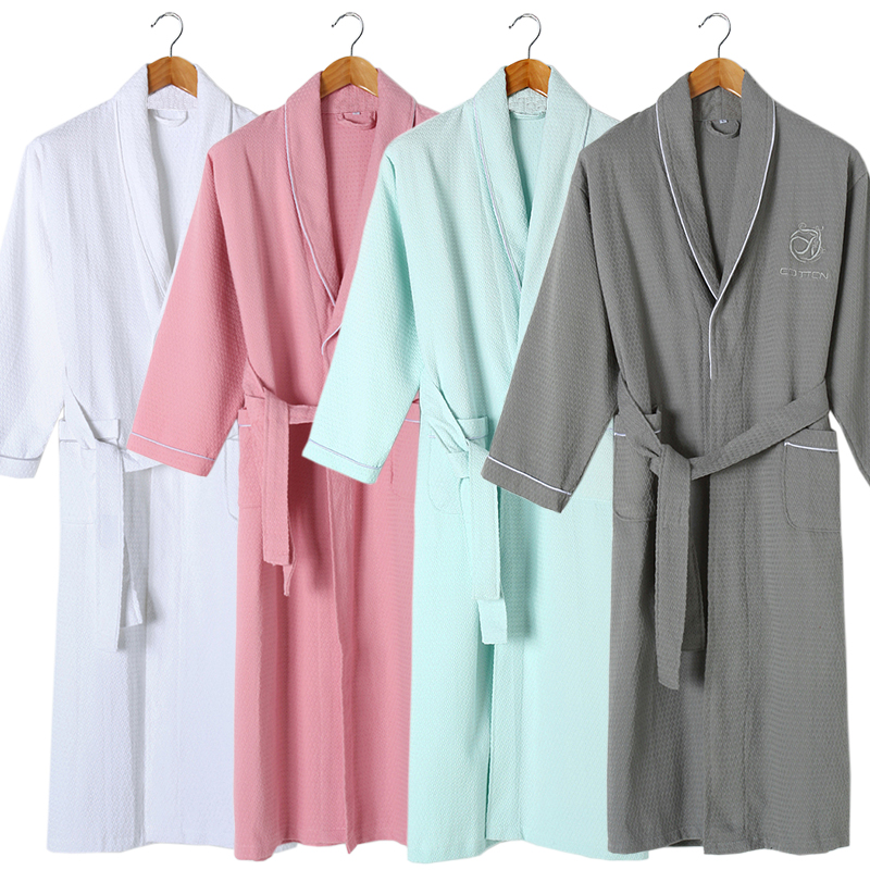 Bathrobes men and women cotton thin section gowns long-sleeved cotton absorbent bathrobe
