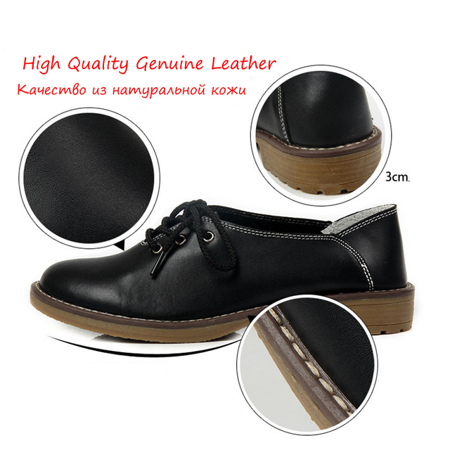 Genuine Leather Shoes Women Oxford Shoes For Women Fashion Flats Women Moccasins Big Size Ladies Shoes Chaussure Femmer HZHICN