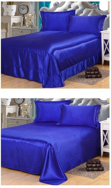 Ipek Kraliyet mavi yatak seti saten Kaliforniya Kral kraliçe tam - Ev Tekstili - Fotoğraf 4