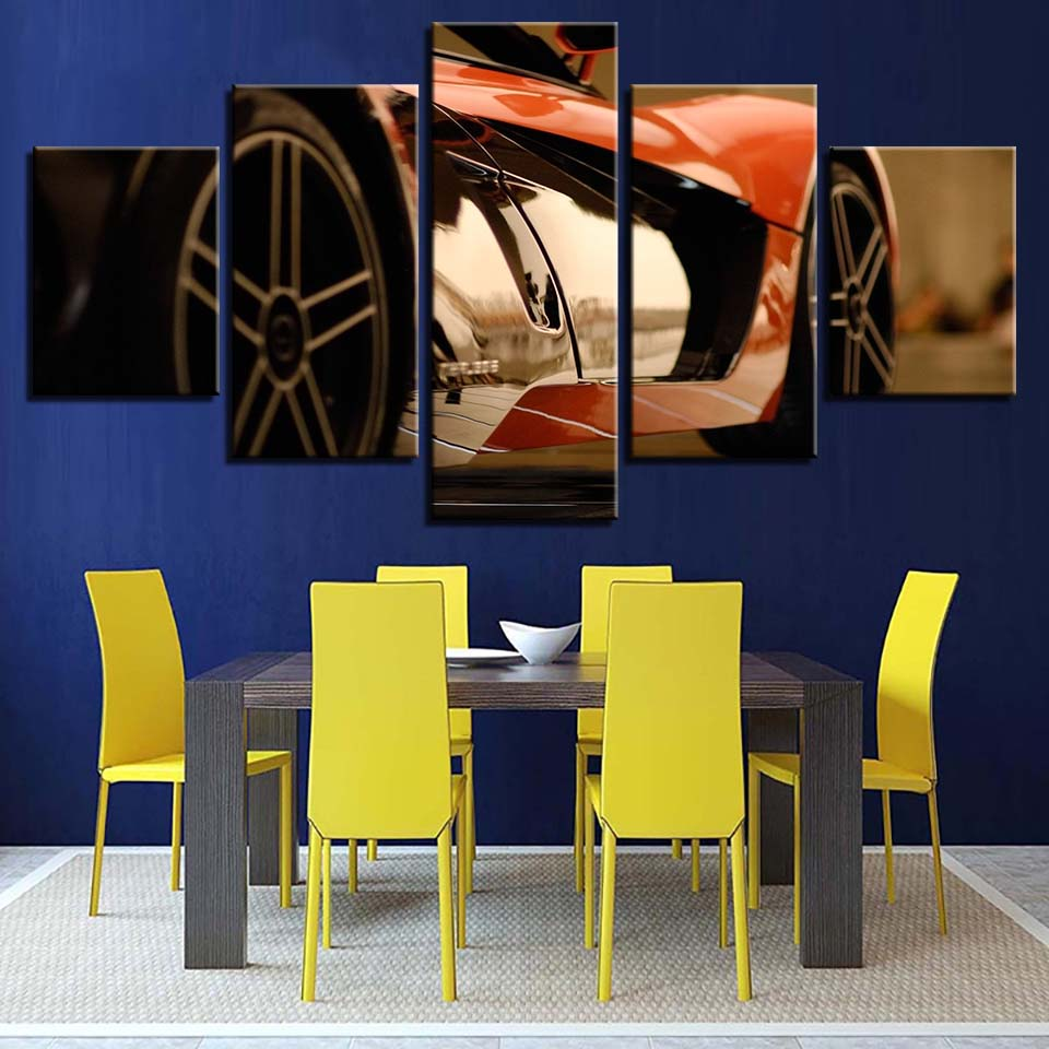 HD Wall Art Canvas Modern Living Room Home Decor Framework 5 Panel Red Sports Car Printed Painting Modular Pictures Poster