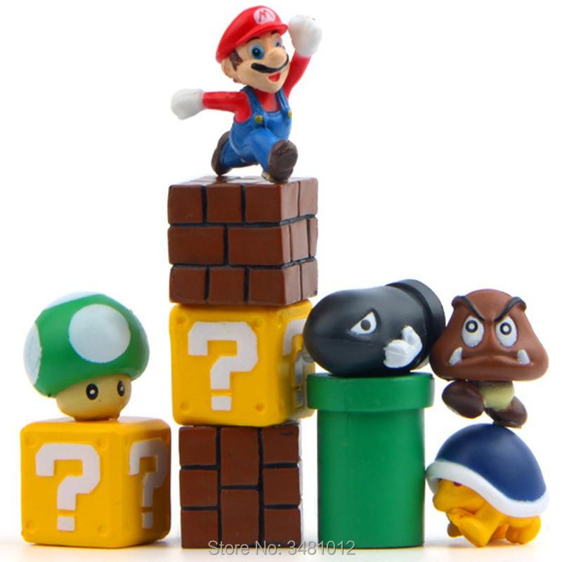 Super Mario Bros Game Scene Blocks Mini PVC Action Figures Koopa Troopa Toad Miniatures Mushroom Anime Figurines Dolls 6pcs set super mario bros mario luigi peach yoshi king kong toad action figure pvc toys 4 6cm kids gifts
