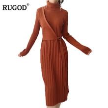 Rugod Лидер продаж рождественское платье с Пояса трикотажные Тонкий элегантное платье для Для женщин теплые с длинным рукавом одноцветное платье Vestido De Mujer