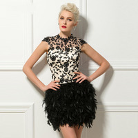 Black Short Feathers Cocktail Dresses Sexy Backless High Neck Cap Sleeves Lace Appliques Chic Party Gowns Vestido De Festa Curto