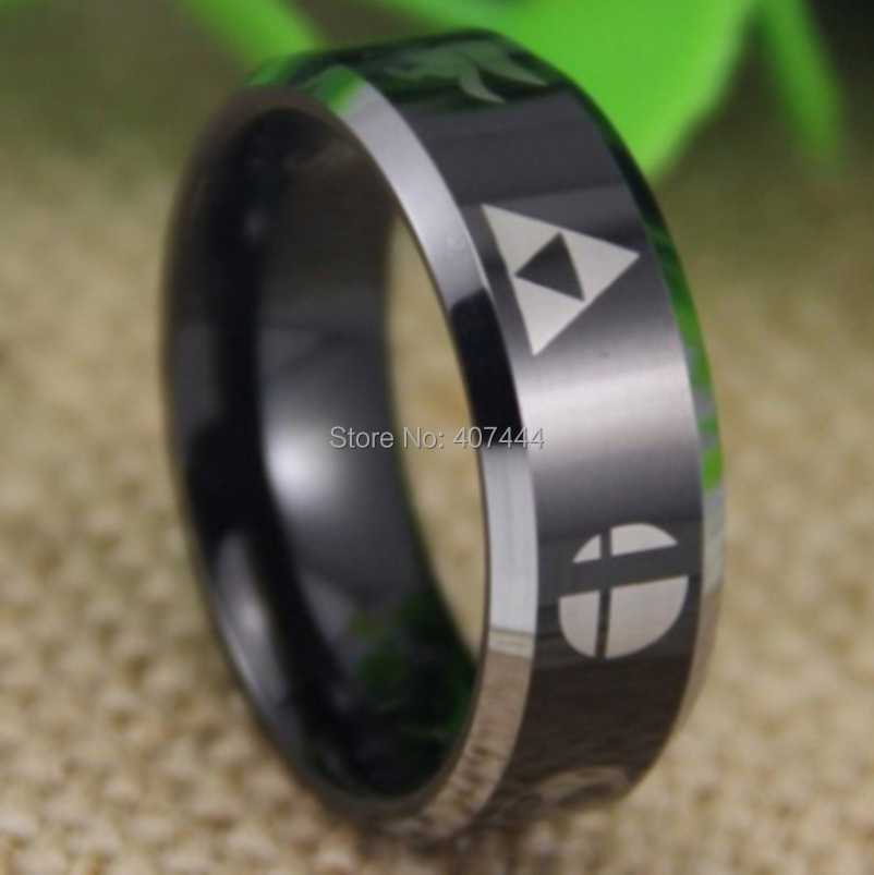 Free Shipping YGK JEWELRY Hot Sale 8MM Super Smash Bros Zelda Metroid Pokemon Mario Star Fox Tungsten Ring In Rings From Jewelry Accessories On