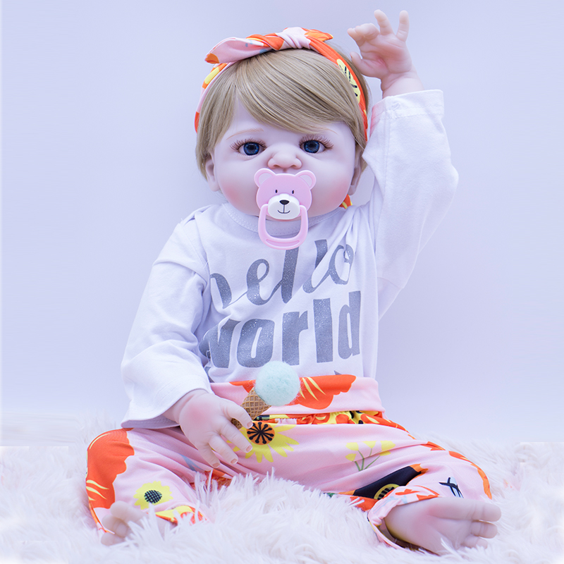 cute 22inch all vinyl baby girl Doll Toys 55cm Full Body Silicone Reborn Dolls best interactive gift toys for boy on Christmascute 22inch all vinyl baby girl Doll Toys 55cm Full Body Silicone Reborn Dolls best interactive gift toys for boy on Christmas