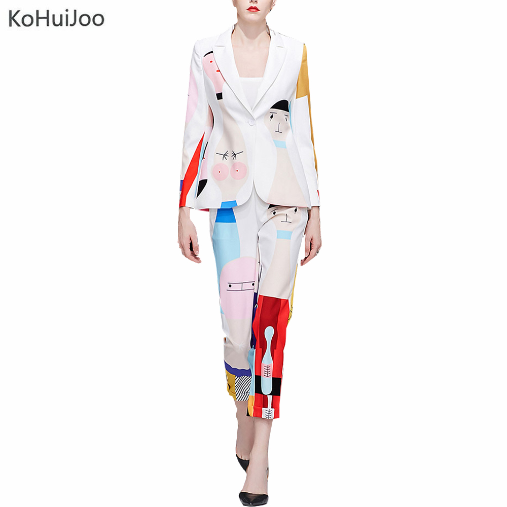 KoHuiJoo Runyway Vestito di Pantaloni di Modo Delle Donne Rappezzatura Del Fumetto di Stampa High Street A Manica Lunga Giacca Sportiva e Pantaloni Set 2 Pezzi