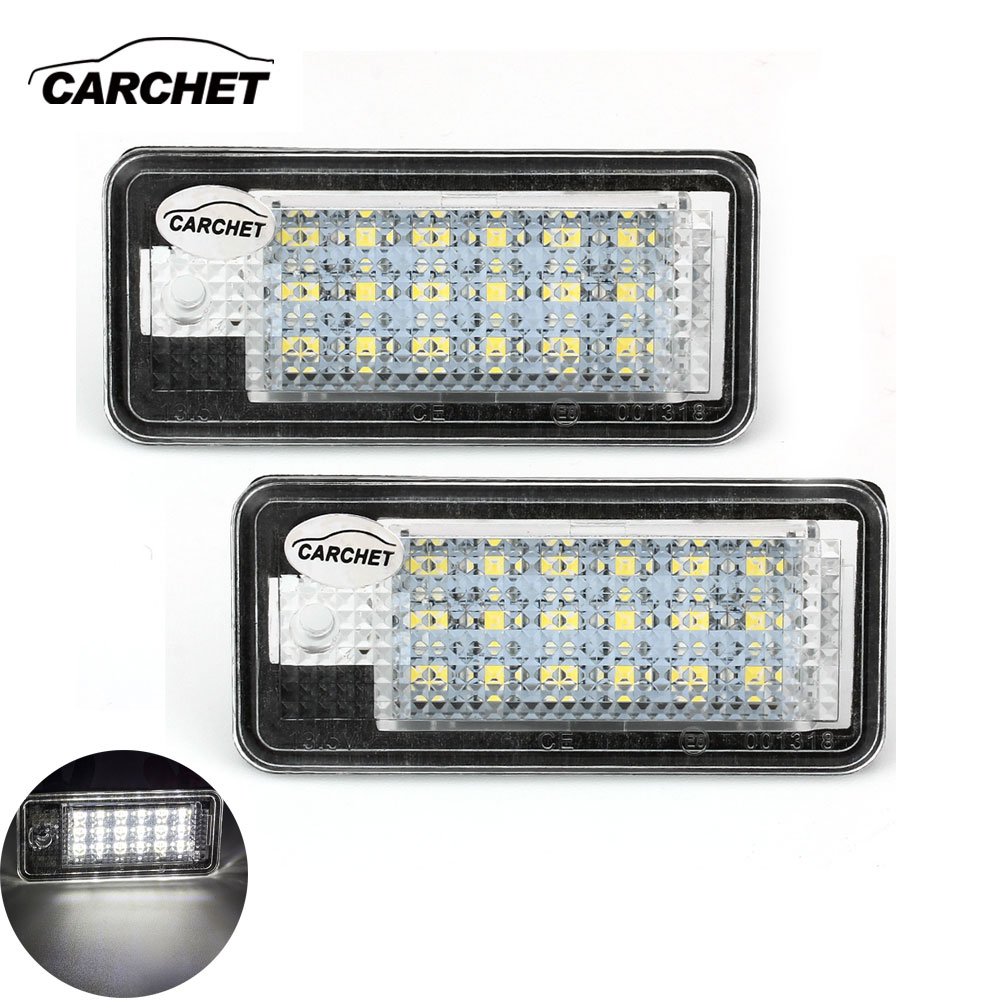 CARCHET Vehicle Car 2X White 18 SMD LED License Plate Lights Lamps Bulbs for Audi A3 04-09/A4/8E/RS4 01-05 /A6 05-09/Q7 07-09